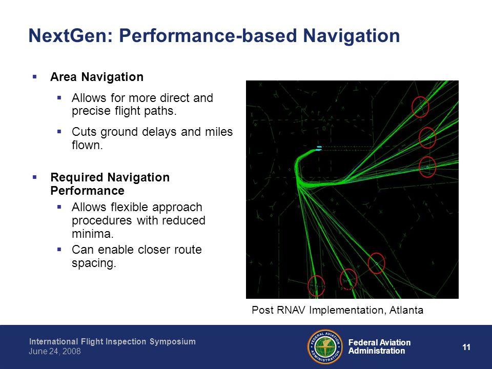 11 International Flight Inspection Symposium June 24, 2008 Federal Aviation Administration NextGen: Performance-based Navigation Area Navigation Allow