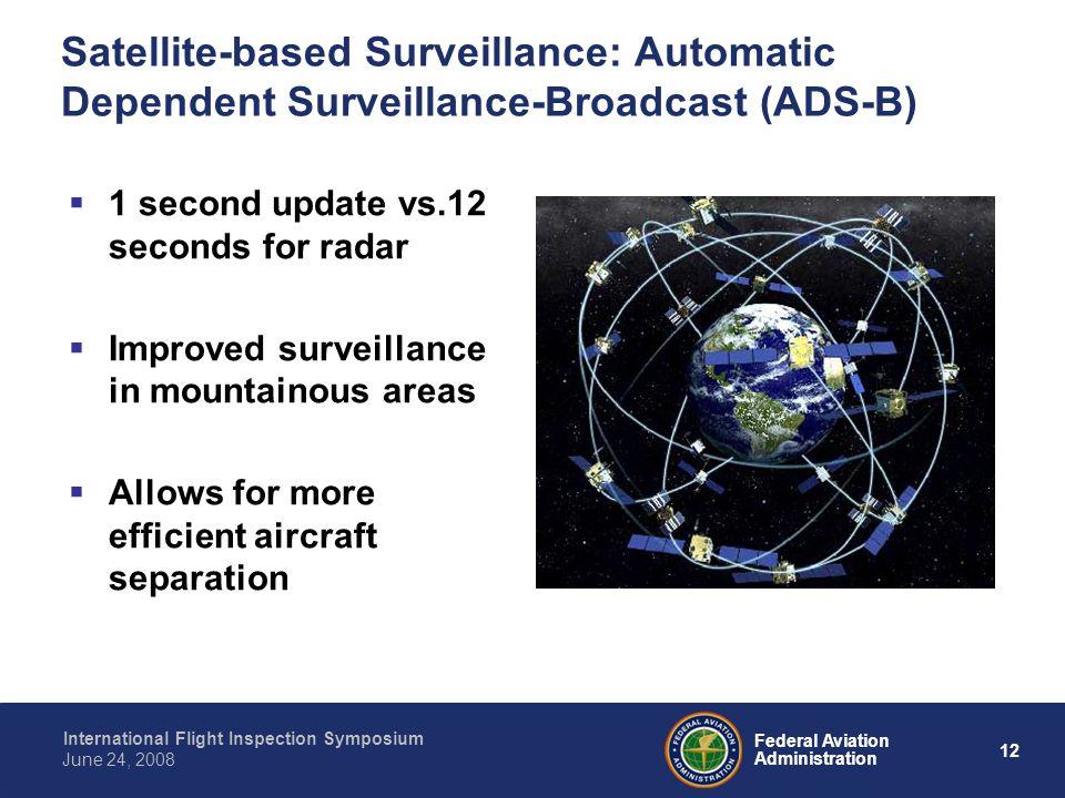 12 International Flight Inspection Symposium June 24, 2008 Federal Aviation Administration Satellite-based Surveillance: Automatic Dependent Surveilla