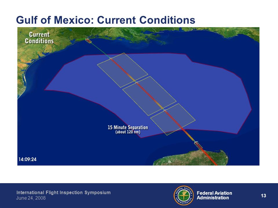 13 International Flight Inspection Symposium June 24, 2008 Federal Aviation Administration Gulf of Mexico: Current Conditions
