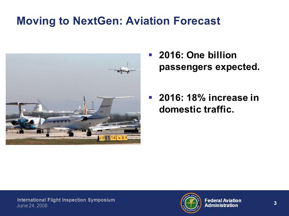 3 International Flight Inspection Symposium June 24, 2008 Federal Aviation Administration Moving to NextGen: Aviation Forecast 2016: One billion passe