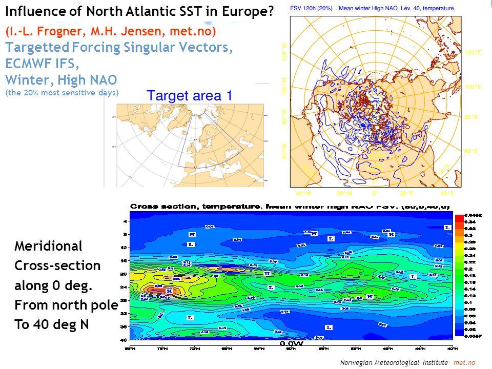 Norwegian Meteorological Institute met.no Influence of North Atlantic SST in Europe? (I.-L. Frogner, M.H. Jensen, met.no) Targetted Forcing Singular V