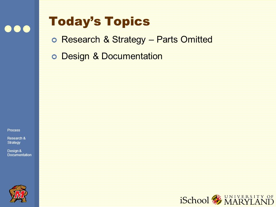 iSchool Todays Topics Research & Strategy – Parts Omitted Design & Documentation Process Research & Strategy Design & Documentation