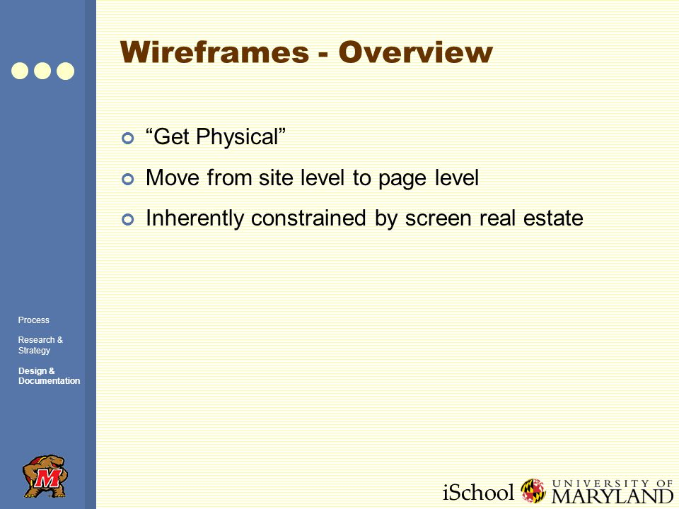 iSchool Wireframes - Overview Process Research & Strategy Design & Documentation Get Physical Move from site level to page level Inherently constrained by screen real estate
