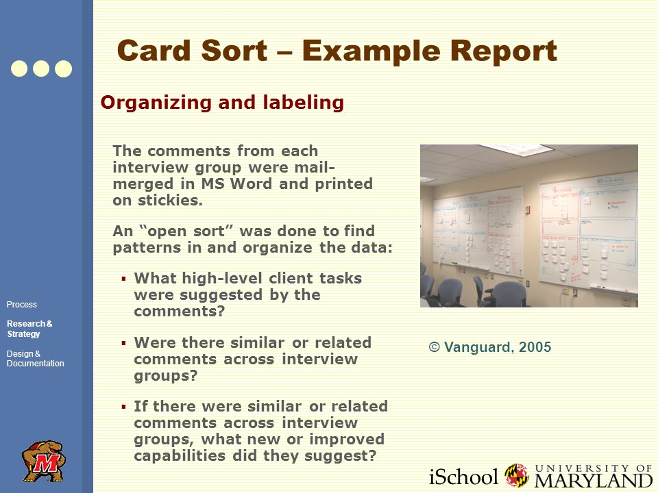 iSchool Card Sort – Example Report Organizing and labeling The comments from each interview group were mail- merged in MS Word and printed on stickies