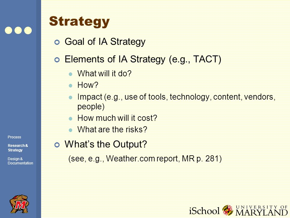 iSchool Strategy Goal of IA Strategy Elements of IA Strategy (e.g., TACT) What will it do? How? Impact (e.g., use of tools, technology, content, vendo