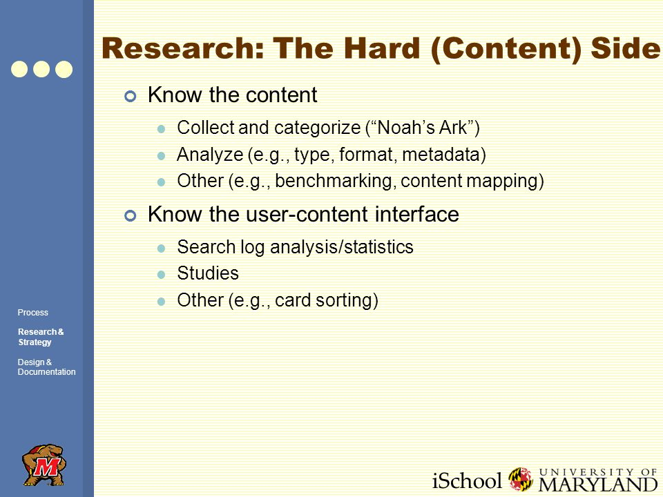 iSchool Research: The Hard (Content) Side Know the content Collect and categorize (Noahs Ark) Analyze (e.g., type, format, metadata) Other (e.g., benc