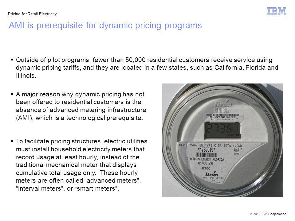 © 2011 IBM Corporation Pricing for Retail Electricity AMI is prerequisite for dynamic pricing programs Outside of pilot programs, fewer than 50,000 re