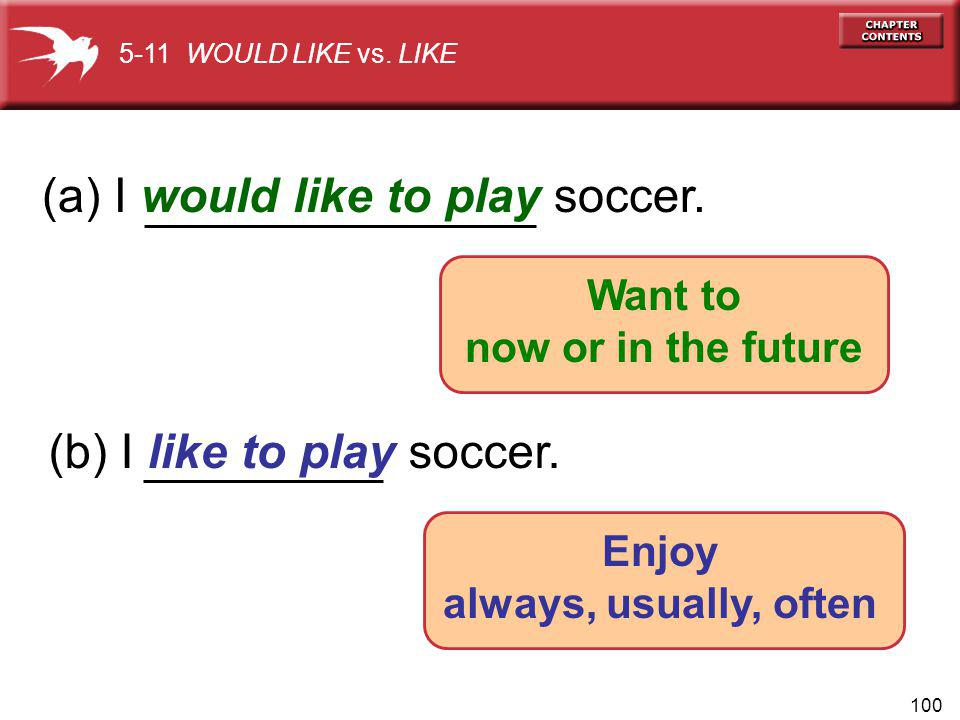 100 (a) I would like to play soccer. (b) I like to play soccer. 5-11 WOULD LIKE vs. LIKE Enjoy always, usually, often Want to now or in the future