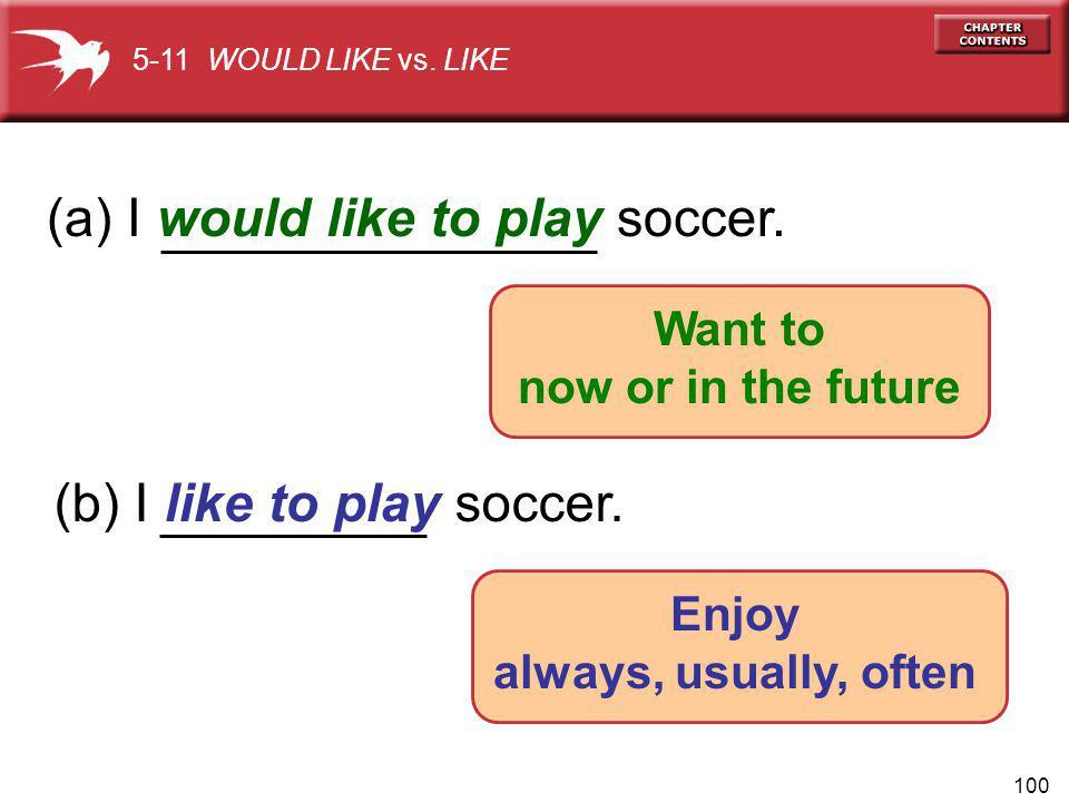 100 (a) I would like to play soccer. (b) I like to play soccer.