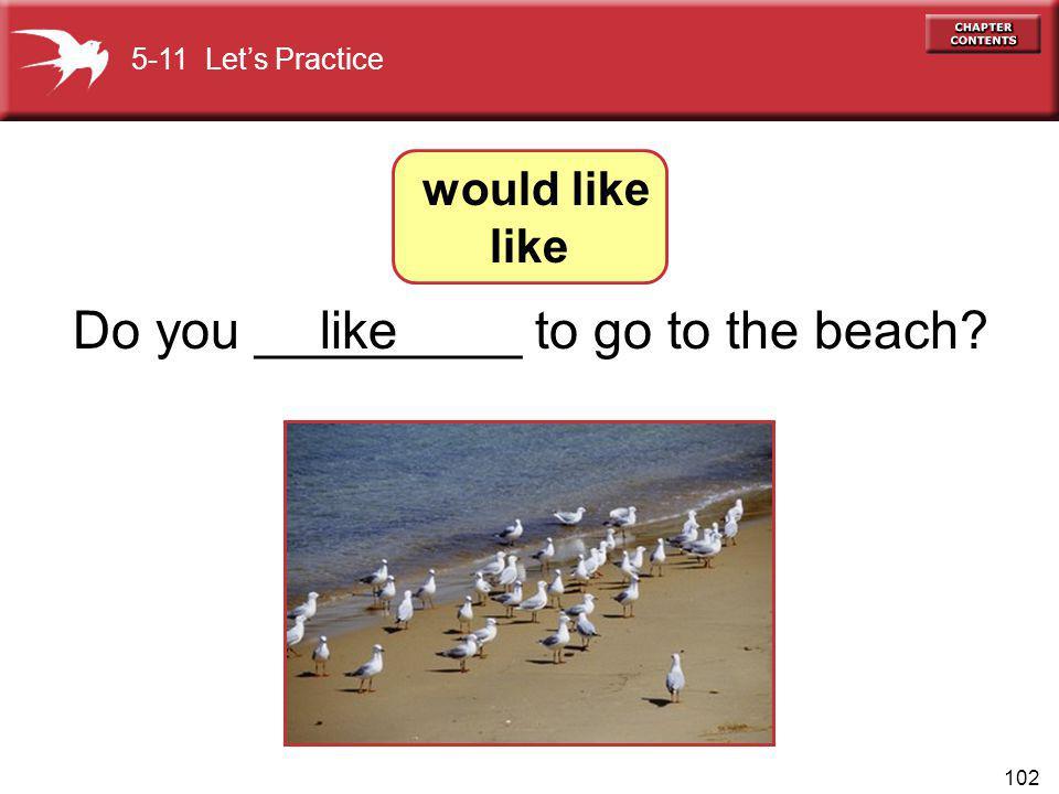 102 Do you _________ to go to the beach? 5-11 Lets Practice like would like like