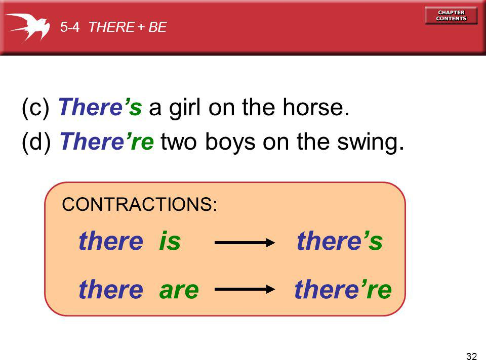 32 (c) Theres a girl on the horse. (d) Therere two boys on the swing.