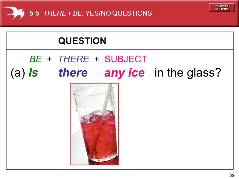 39 QUESTION (a) Is there any ice in the glass.