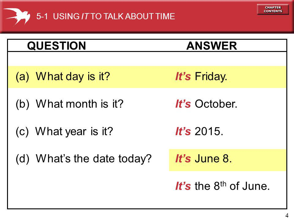 4 Its Friday. Its October. Its 2015. Its June 8. Its the 8 th of June. (a) What day is it? (b) What month is it? (c) What year is it? (d) Whats the da