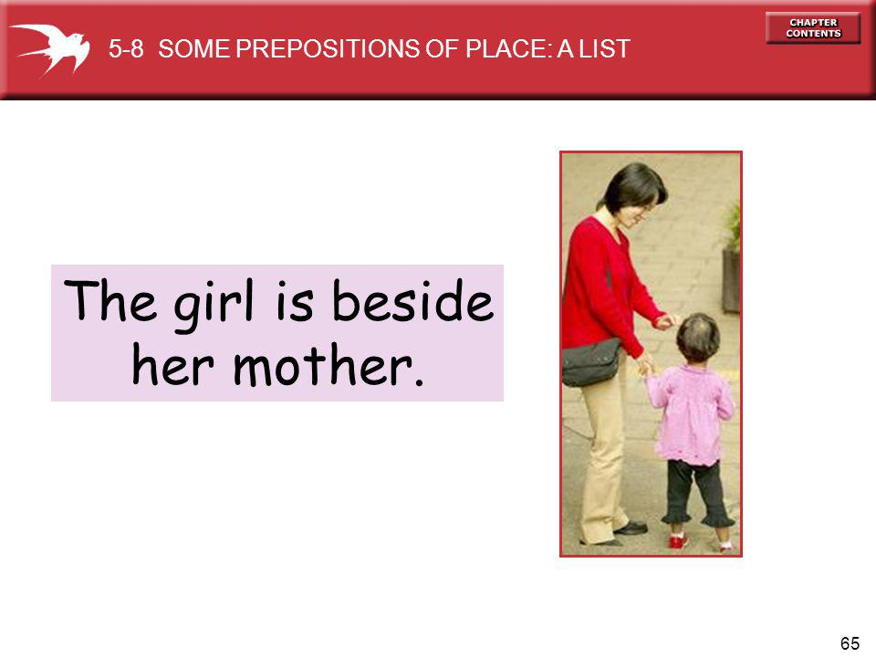 65 The girl is beside her mother. 5-8 SOME PREPOSITIONS OF PLACE: A LIST