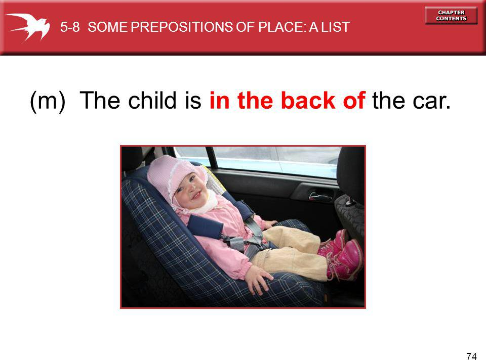 74 (m) The child is in the back of the car. 5-8 SOME PREPOSITIONS OF PLACE: A LIST