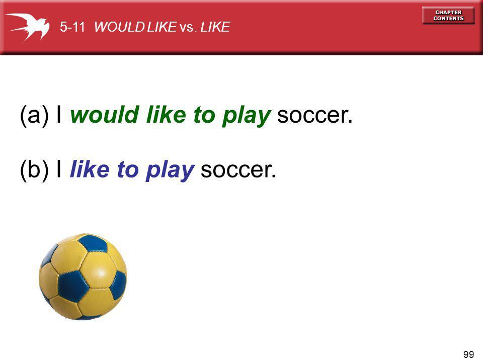 99 (a) I would like to play soccer. (b) I like to play soccer. 5-11 WOULD LIKE vs. LIKE