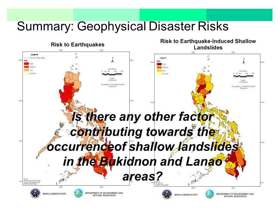 Summary: Geophysical Disaster Risks Is there any other factor contributing towards the occurrenceof shallow landslides in the Bukidnon and Lanao areas