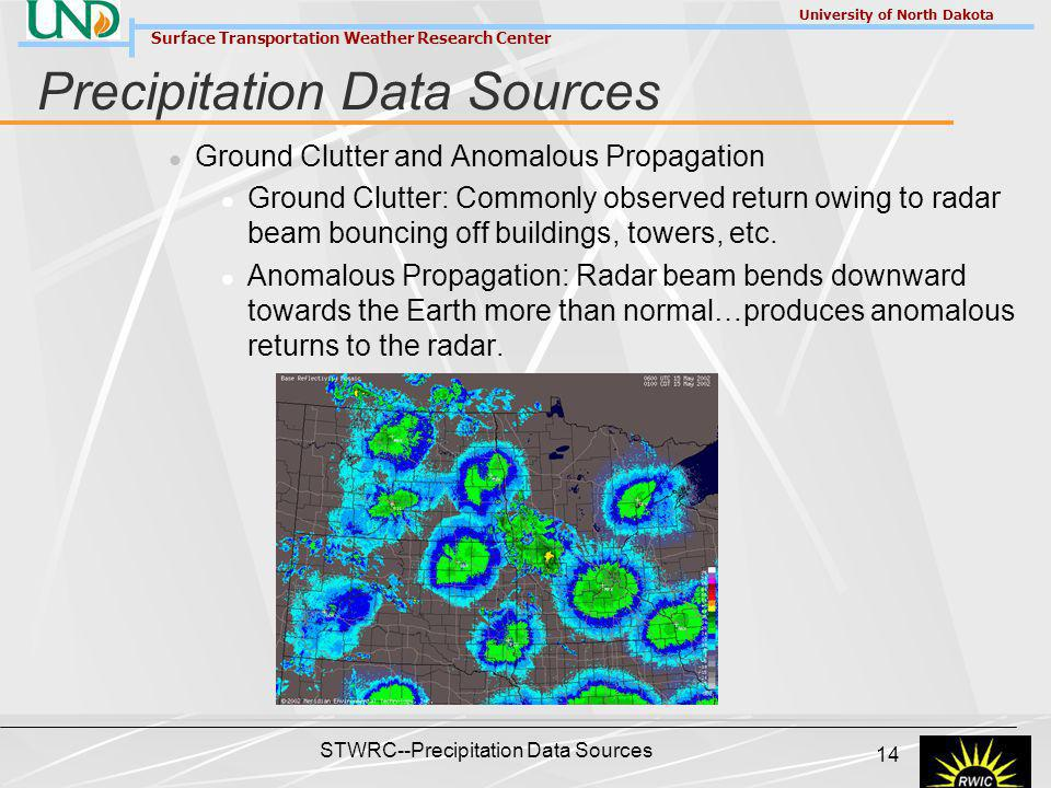 Surface Transportation Weather Research Center University of North Dakota STWRC--Precipitation Data Sources 14 Precipitation Data Sources Ground Clutter and Anomalous Propagation Ground Clutter: Commonly observed return owing to radar beam bouncing off buildings, towers, etc.