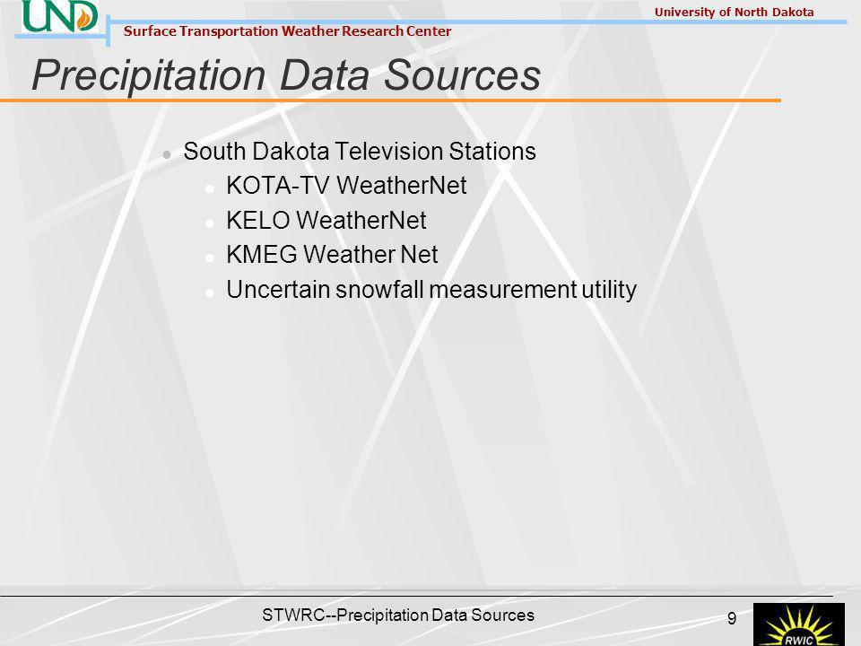 Surface Transportation Weather Research Center University of North Dakota STWRC--Precipitation Data Sources 9 Precipitation Data Sources South Dakota