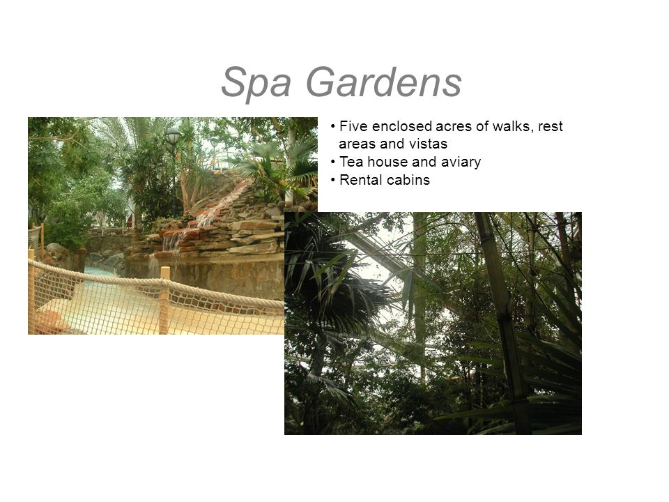 Spa Gardens Five enclosed acres of walks, rest areas and vistas Tea house and aviary Rental cabins