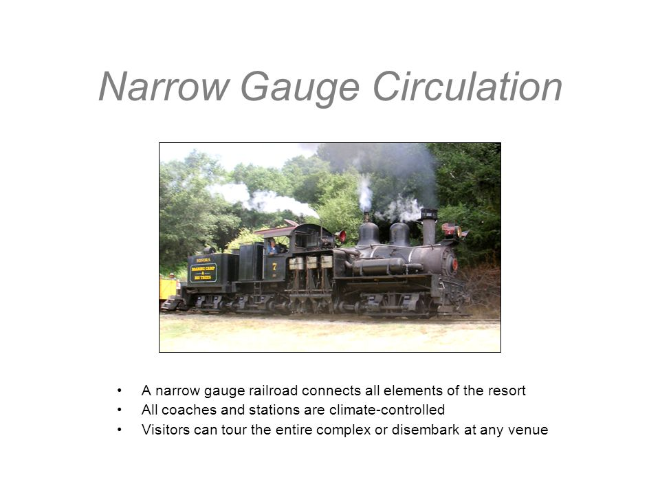 Narrow Gauge Circulation A narrow gauge railroad connects all elements of the resort All coaches and stations are climate-controlled Visitors can tour the entire complex or disembark at any venue