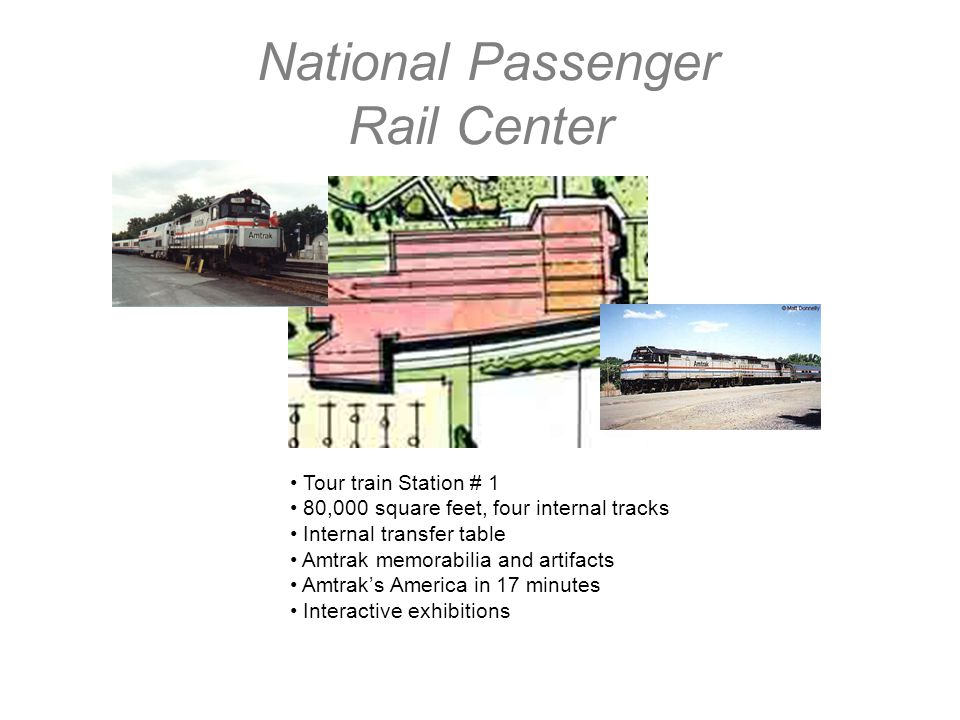 National Passenger Rail Center Tour train Station # 1 80,000 square feet, four internal tracks Internal transfer table Amtrak memorabilia and artifacts Amtraks America in 17 minutes Interactive exhibitions