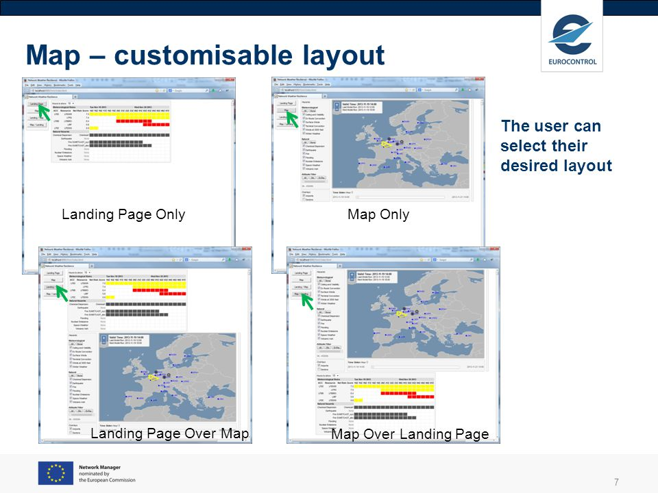 8 The map-based display of hazard information accompanies the Landing Page.