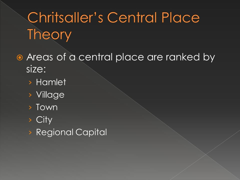 Areas of a central place are ranked by size: Hamlet Village Town City Regional Capital