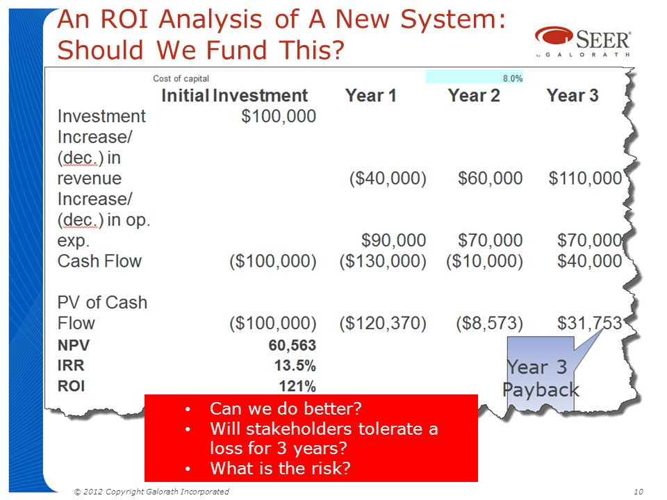 © 2012 Copyright Galorath Incorporated 10 An ROI Analysis of A New System: Should We Fund This? Can we do better? Will stakeholders tolerate a loss fo