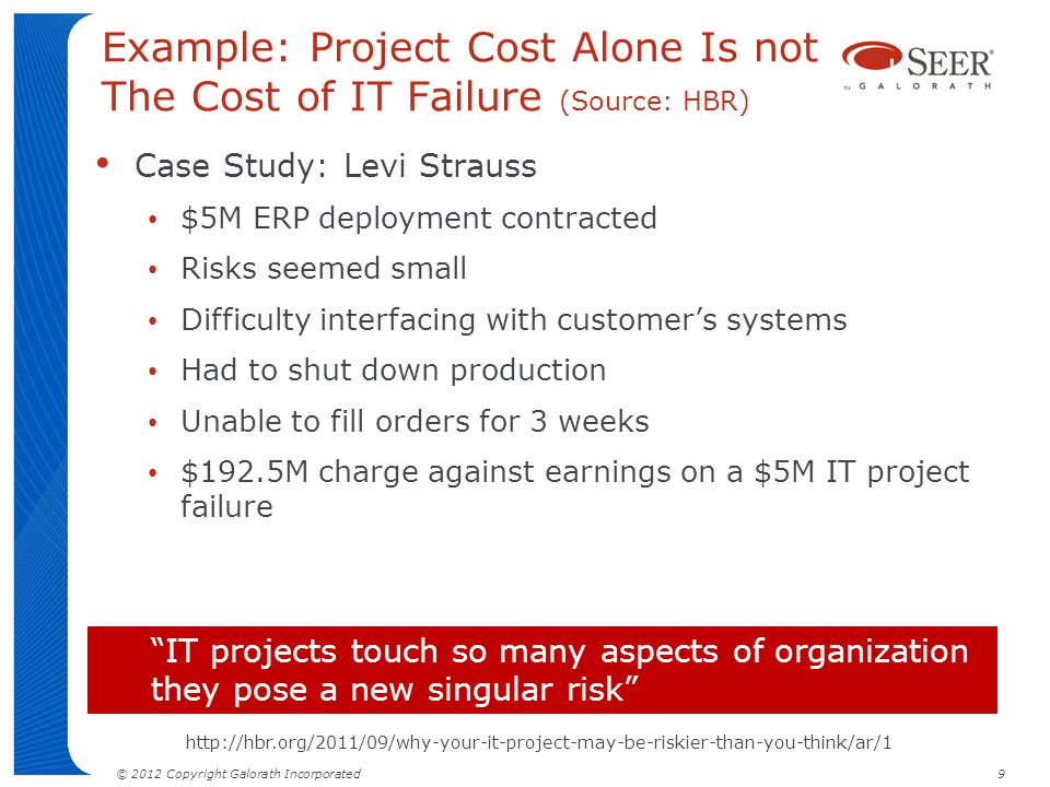 © 2012 Copyright Galorath Incorporated 9 Example: Project Cost Alone Is not The Cost of IT Failure (Source: HBR) Case Study: Levi Strauss $5M ERP depl