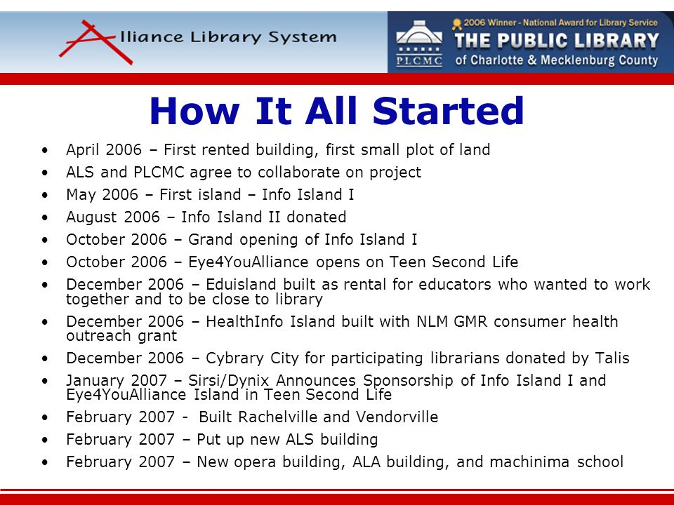 How It All Started April 2006 – First rented building, first small plot of land ALS and PLCMC agree to collaborate on project May 2006 – First island