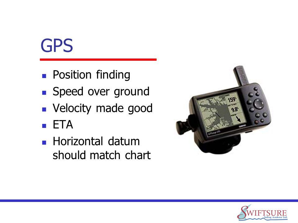 GPS Position finding Speed over ground Velocity made good ETA Horizontal datum should match chart