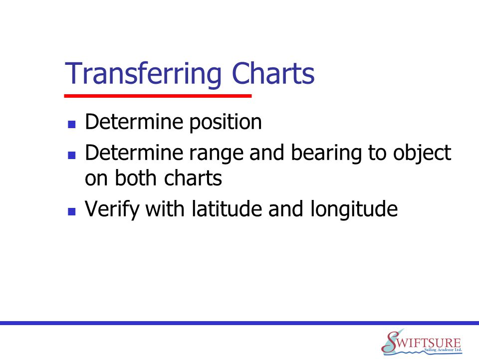 Transferring Charts Determine position Determine range and bearing to object on both charts Verify with latitude and longitude