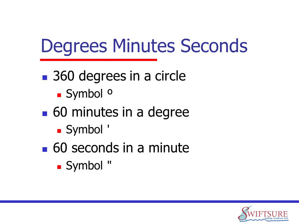Degrees Minutes Seconds 360 degrees in a circle Symbol º 60 minutes in a degree Symbol ' 60 seconds in a minute Symbol