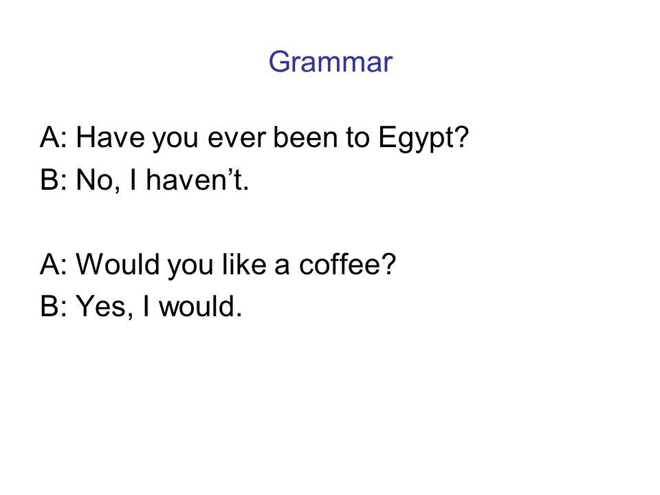 Grammar A: Have you ever been to Egypt. B: No, I havent.