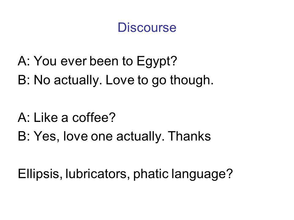 Discourse A: You ever been to Egypt. B: No actually.