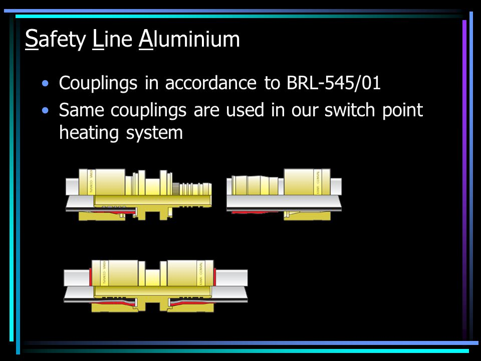 Couplings in accordance to BRL-545/01 Same couplings are used in our switch point heating system