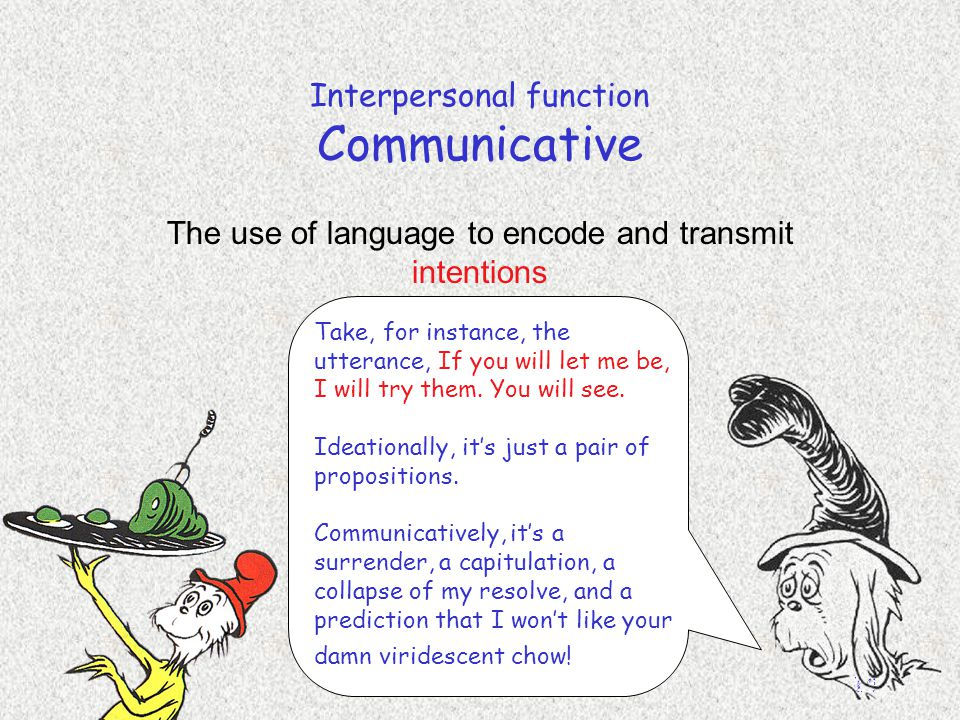 English 306A; Harris 14 Interpersonal function Communicative The use of language to encode and transmit intentions Take, for instance, the utterance,