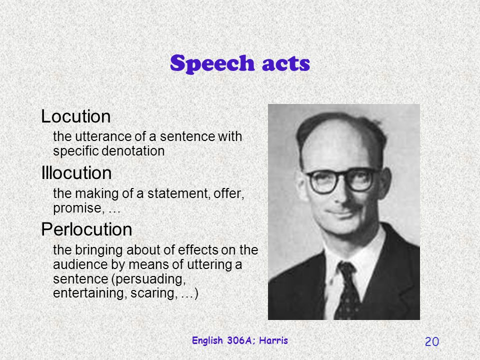English 306A; Harris 20 Speech acts Locution the utterance of a sentence with specific denotation Illocution the making of a statement, offer, promise