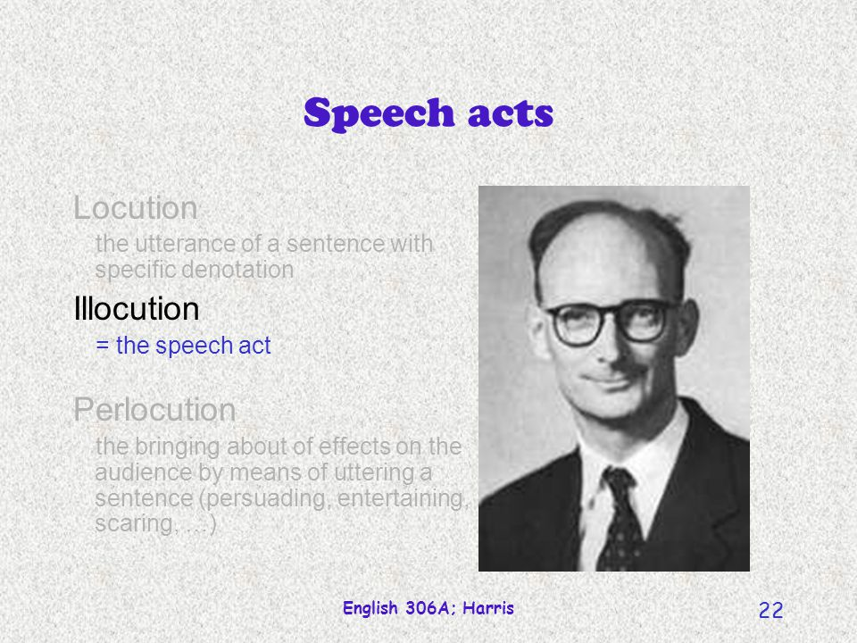 English 306A; Harris 22 Locution the utterance of a sentence with specific denotation Illocution = the speech act Perlocution the bringing about of ef