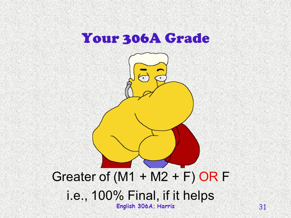 English 306A; Harris 31 Your 306A Grade Greater of (M1 + M2 + F) OR F i.e., 100% Final, if it helps