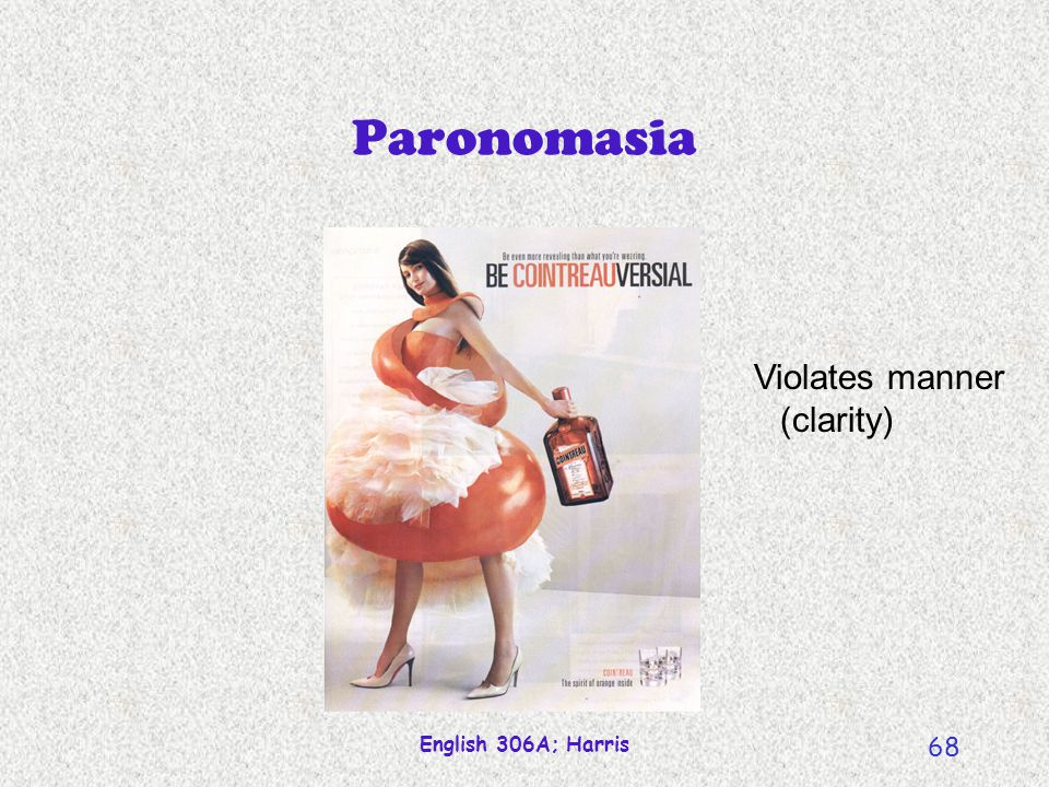 English 306A; Harris 68 Paronomasia Violates manner (clarity)