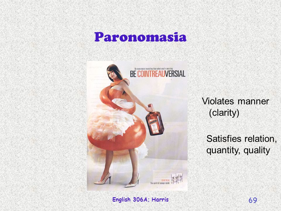 English 306A; Harris 69 Paronomasia Violates manner (clarity) Satisfies relation, quantity, quality