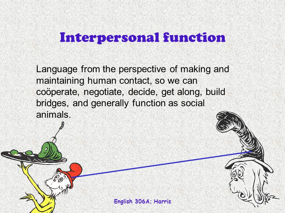 English 306A; Harris 7 Interpersonal function Language from the perspective of making and maintaining human contact, so we can coöperate, negotiate, d