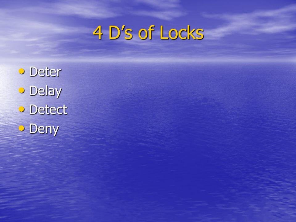 4 Ds of Locks Deter Deter Delay Delay Detect Detect Deny Deny