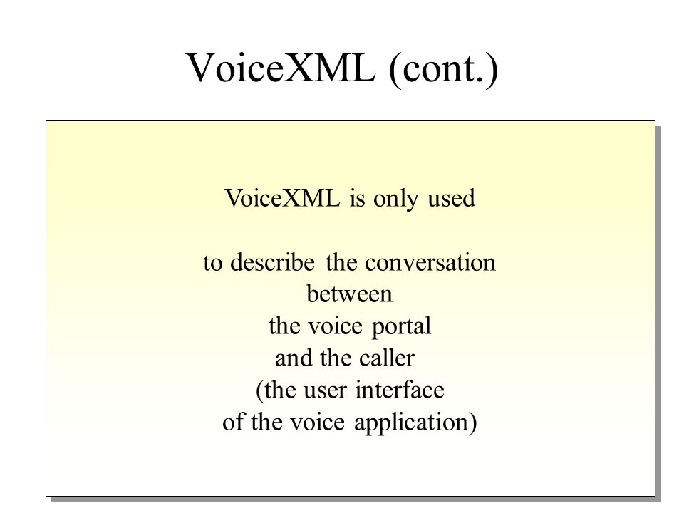 VoiceXML is designed for creating audio dialogs that feature synthesized speech, digitized audio, recognition of spoken and DTMF key input, recording of spoken input, telephony, and mixed-initiative conversations W3C Consortium (Voice Extensible Markup Language, VoiceXML Version 2.0) VoiceXML is designed for creating audio dialogs that feature synthesized speech, digitized audio, recognition of spoken and DTMF key input, recording of spoken input, telephony, and mixed-initiative conversations W3C Consortium (Voice Extensible Markup Language, VoiceXML Version 2.0) VoiceXML