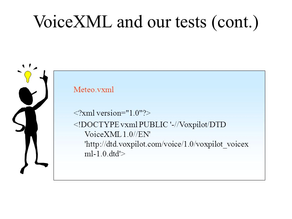 VoiceXML and our tests (cont.) Welcome to the European meteorological information service.