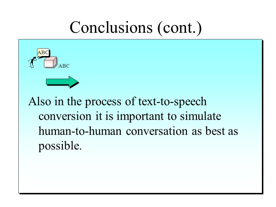 Conclusions (cont.) ABC The voice portals inherit the advantages and disadvantages of technologies like the voice synthesis and voice recognition. The