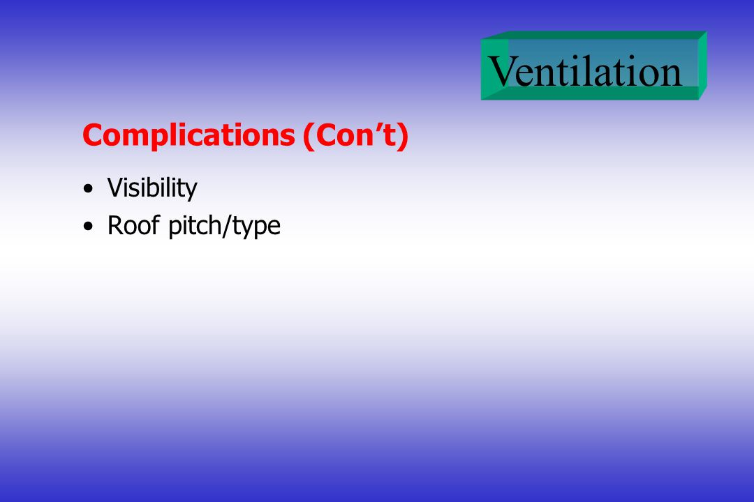 Ventilation Complications (Cont) Visibility Roof pitch/type