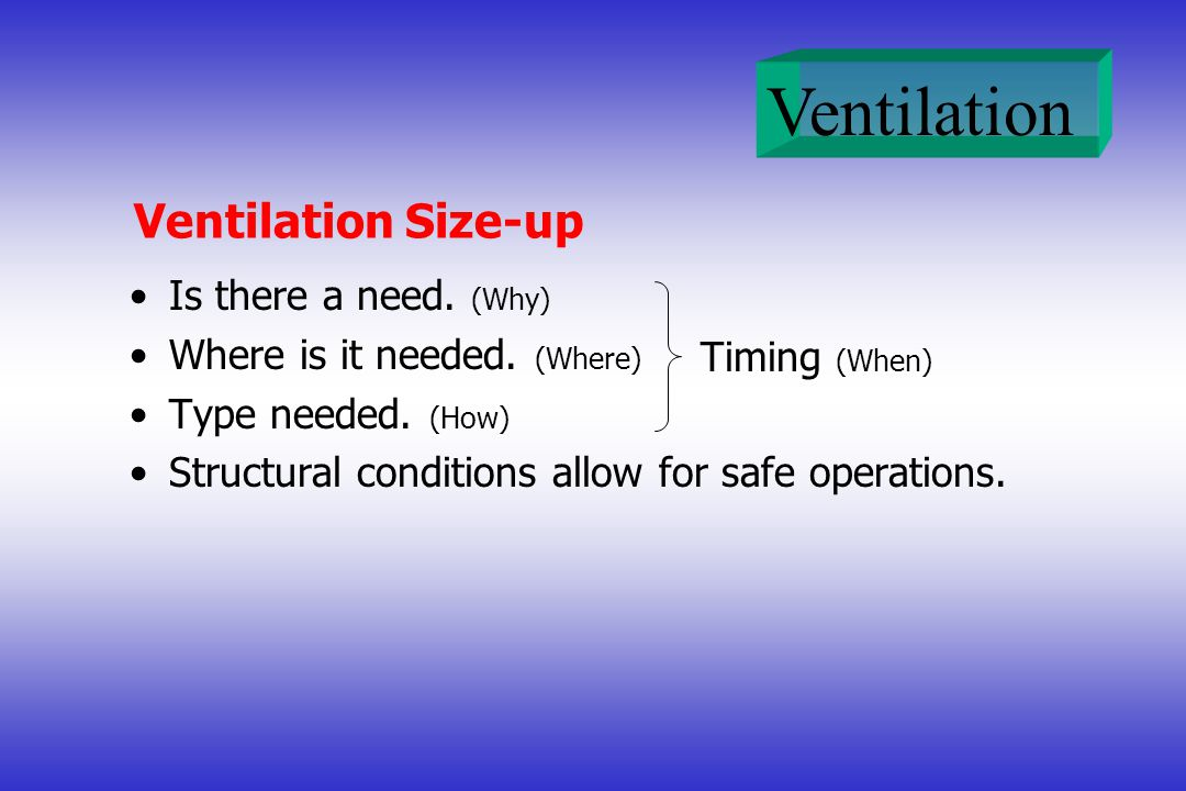 Ventilation Ventilation Size-up Is there a need. (Why) Where is it needed. (Where) Type needed. (How) Structural conditions allow for safe operations.